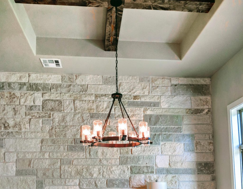 study dining room light with stone